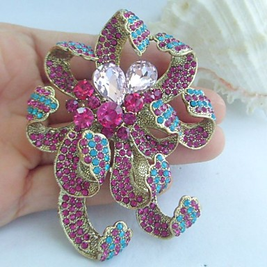 Women Accessories Gold-tone Multicolor Rhinestone Crystal Flower Brooch Art Deco Crystal Brooch Bouquet Women Jewelry