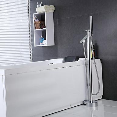 Bathtub Faucet - Contemporary Chrome Floor Mounted Ceramic Valve