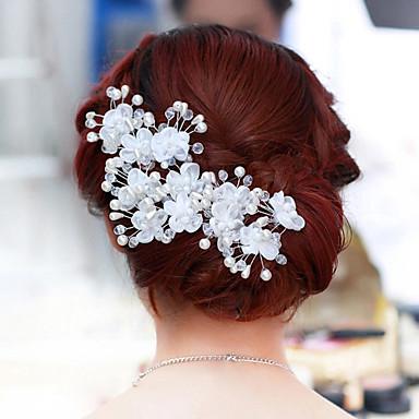 abordables Bijoux de Cheveux-Perle / Cristal / Tissu Diadèmes / Fleurs avec 1 / 1pc Mariage / Fête / Soirée Casque / Alliage
