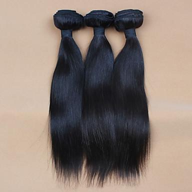 baratos Extensões de Cabelo Natural-10 '' - 32 '' 3pcs / lot # 2 cor dos cabelos não transformados cabelo virgem peruano cru tece feixes / trama