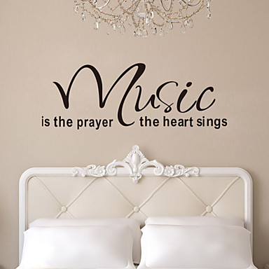 Quote Wall Decals Music Is The Prayer Heart Removable Vinyl Wall Stickers Home Decor ZY8197 Wall Art Decals