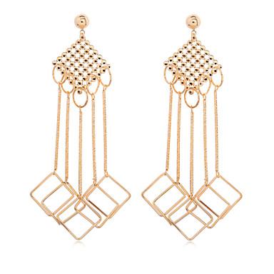 BIN BIN Women's Fashion Hollow Out Design Square Tassel Alloy Earring