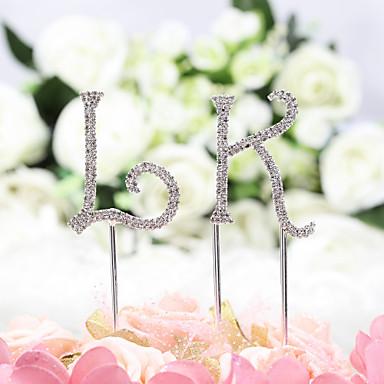 Kakepynt Klassisk Tema Monogram Chrome Bryllup / jubileum / Bursdag med Rhinsten 1 pcs OPP