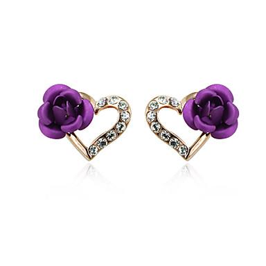 בגדי ריקוד נשים עגילים צמודים קריסטל אהבה זירקוניה מעוקבת סגסוגת ורדים פרח תכשיטים תכשיטי תלבושות