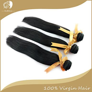 3 pakker Peruviansk hår Rett Klassisk 10A Ubehandlet hår Menneskehår Vevet 12-14 tommers Svart Hårvever med menneskehår Hairextensions med menneskehår