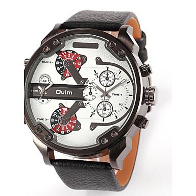 OULM® Men's  Military Dual Time Zones  PU Watch Cool Watch Unique Watch Fashion Watch