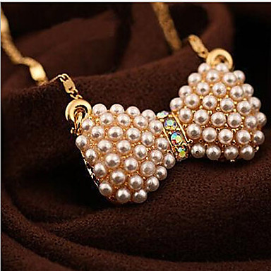 Damskie Naszyjniki z wisiorkami Perlový náhrdelník Bowknot Shape Perłowy Stop Modny Gold Biżuteria Na
