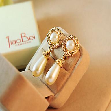 Damen Tropfen-Ohrringe - Künstliche Perle, Strass Tropfen Europäisch Gold / Cream Für