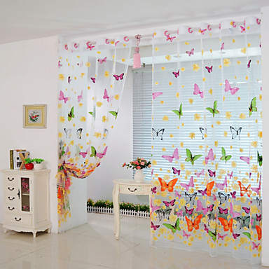 Rod Pocket Grommet Top Tab Top Double Pleat One Panel Curtain Modern , Print & Jacquard Animal Poly / Cotton Blend Material Sheer