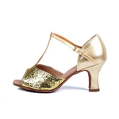 Dame Sko til latindans / Ballett / Salsasko Sateng / Lakklær Høye hæler / Sandaler Paljett / Spenne Kustomisert hæl Kan spesialtilpasses