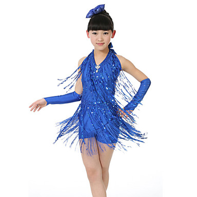 Latin Dance Dresses Performance Polyester Sequin Tassel Sleeveless Natural Dress Gloves Headwear Shorts