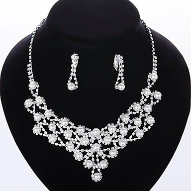 Conjunto de jóias Mulheres Casamento / Noivado / Festa / Ocasião Especial Conjuntos de Joalharia Imitação de Pérola / Folheado / Strass
