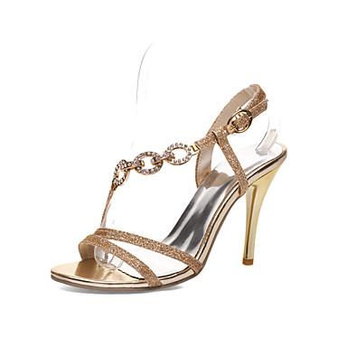 샌달 - 드레스 - 여성의 신발 - 뾰족한 앞코 - 레더렛 - 스틸레토 굽 - 실버 / 골드