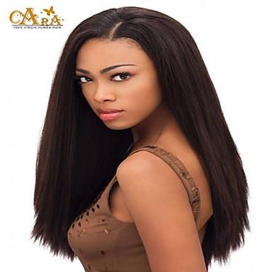 Gerçek Saç Örme Peruklar Gerçek Saç Komple Dantel Yoğunluk Düz Peruk Koyu Kahverengi Şort Orta Uzun