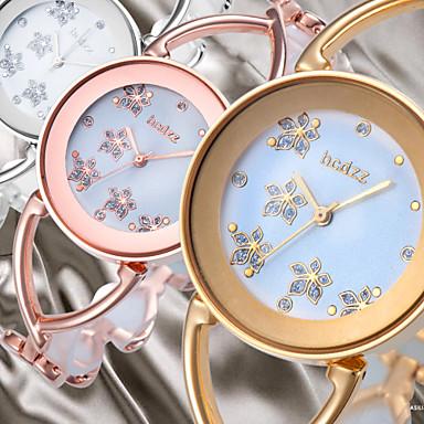 Damen Quartz Armbanduhr Japanisch Armbanduhren für den Alltag Legierung Band Blume Kleideruhr Elegant Modisch Armreif Silber Gold Rotgold
