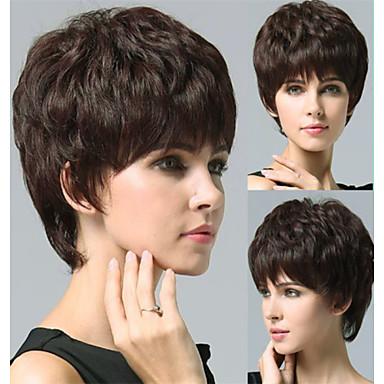 100% ludzki włos peruka najwyższej jakości bezosłonowe Super Natural krótkie kręcone czarne włosy peruki