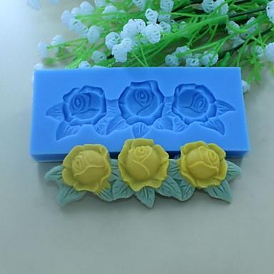 rózsa virág levél minta alakú fondant torta csokoládé szilikon penész dekorációs szerszám