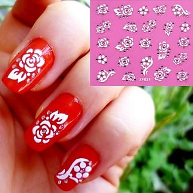1 - Autocollants 3D pour ongles - Doigt/Orteil - en Fleur/Mariage - 10.5X7X0.1