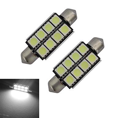 2pcs 150-170lm Festoon Oświetlenie dekoracyjne 8 Koraliki LED SMD 5050 Zimna biel 12V