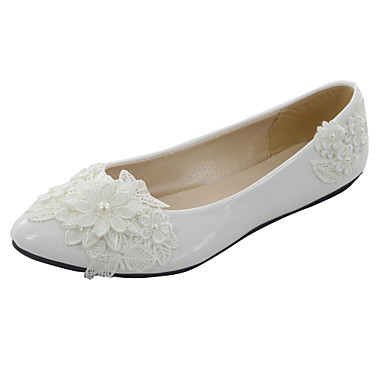 Women's Shoes Low Heel Pointed Toe Flats Wedding White