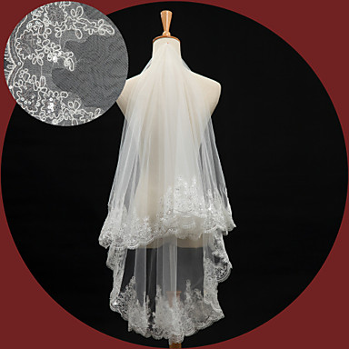 One-tier Lace Applique Edge Wedding Veil Elbow Veils 53 Sequin Embroidery 59.06 in (150cm) Lace Tulle