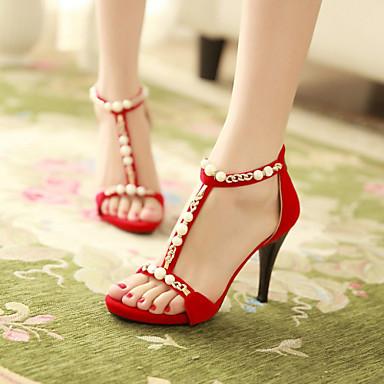 Femme Chaussures Similicuir Printemps Eté Automne Talon Aiguille Boucle Pour Habillé Noir Rouge