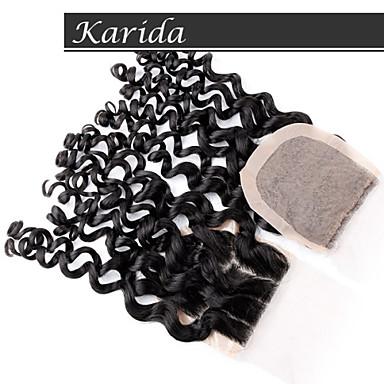 υψηλής ποιότητας κλείσιμο περουβιανή τρίχα της Virgin μετάξι βάσης, Καρύδα μαλλιά σγουρά 4x4 φθηνά απόθεμα μετάξι κλείσιμο βάσης