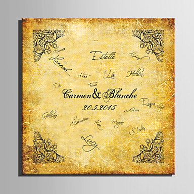 E-HOME® Personalized Signature Canvas Frame-Yellow Retro Pattern