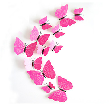 3d falimatrica fali matricák stílus pillangó vörös szín pvc falimatrica