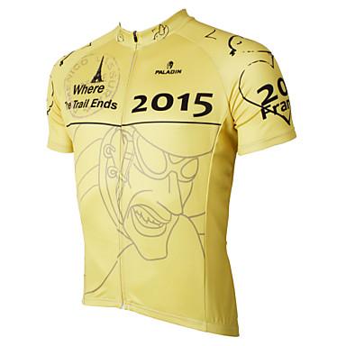 ILPALADINO Homme Manches Courtes Maillot de Cyclisme - Blanc Noir Jaune Vert Bande dessinée Vélo Maillot, Séchage rapide, Résistant aux