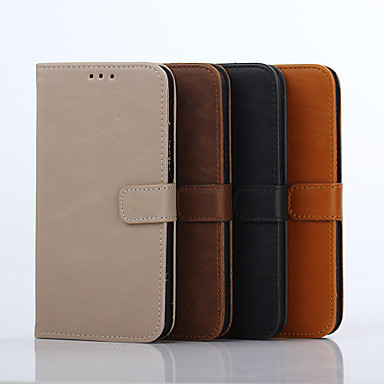 Case For Samsung Galaxy Samsung Galaxy Case Card Holder Wallet with Stand Flip Full Body Cases Solid Color Hard Genuine Leather for J7