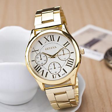 Damen Armbanduhr Quartz Armbanduhren für den Alltag Edelstahl Band Analog Charme Modisch Gold