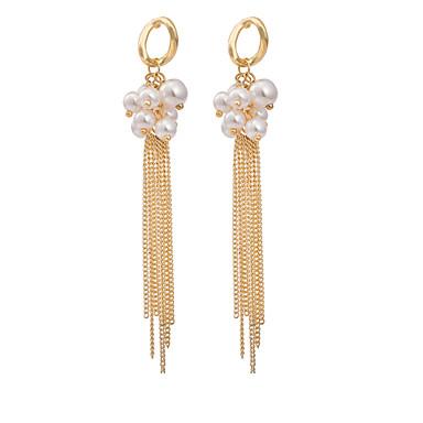 BIN BIN Women's Fashion Elegant Pearl Pendants Tassel Alloy Earrings