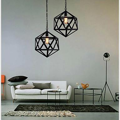 Retro industrial restaurant bar hotel lamp droplight hexahedron artistic originality, wrought iron Pendant Lights