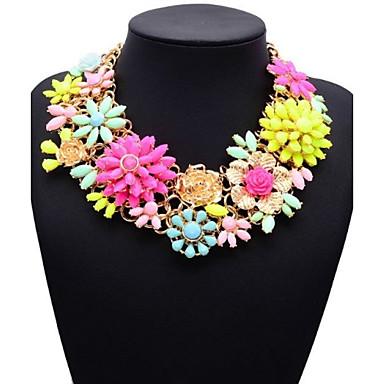 JQ Jewelry Big Name Chunky Pink Flower Choker Necklace