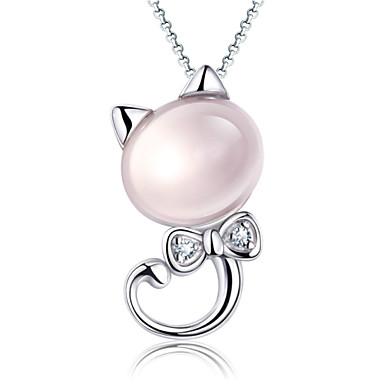 Damen Kristall Anhängerketten - Sterling Silber, versilbert, Silber Niedlich Rosa Modische Halsketten Schmuck Für Party, Alltag, Normal