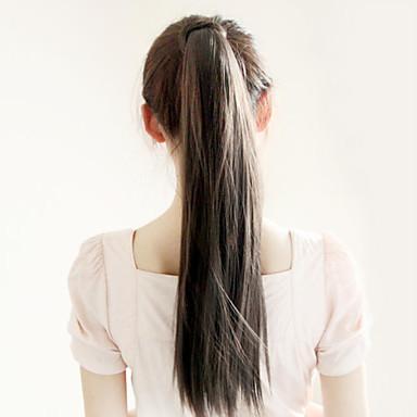 Ravnsvart (#1) syntetisk Hestehale مستقيم Micro Ring Hair Extensions Hestehale 22inch gram Medium (90g-120g) Mengde