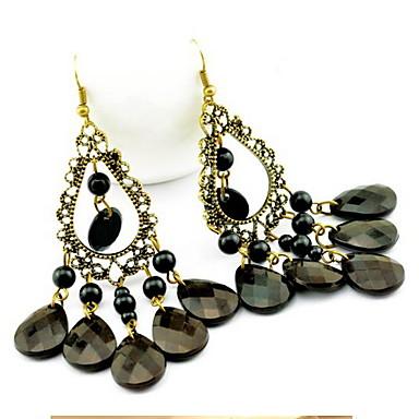 damskie hollow out vintage frędzle kolczyki w stylu black drop eleganckie