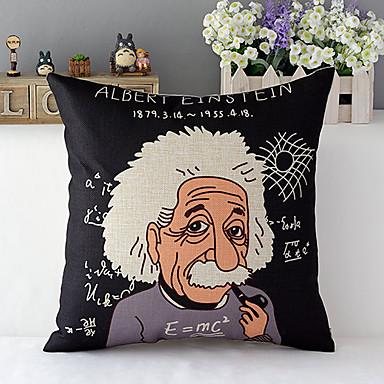 Modern Style Cartoon Einstein Cotton/Linen Decorative Pillow Cover