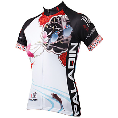 ILPALADINO Women's Short Sleeves Cycling Jersey - White Rainbow Floral / Botanical Bike Jersey, Quick Dry, Ultraviolet Resistant,