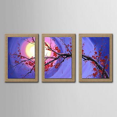 3 seti - gergin çerçeveli ile yağlıboya dekorasyon soyut çiçekler el boyalı tuval