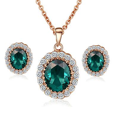 Naisten Korusetti Kristalli Synteettinen Emerald Kristalli Cubic Zirkonia Timanttijäljitelmä Metalliseos Häät Party Päivittäin