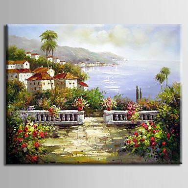 Maalattu MaisemaModerni / Välimeren / European Style 1 paneeli Kanvas Hang-Painted öljymaalaus For Kodinsisustus
