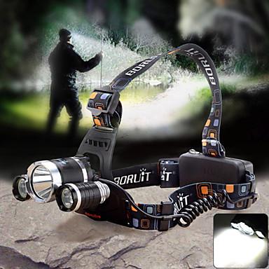 Otsalamput LED 1800lm lm 4.0 Tila Cree XM-L T6 Cree Q5 Laturilla Zoomable Säädettävä fokus Vedenkestävä Telttailu / Retkely / Luolailu
