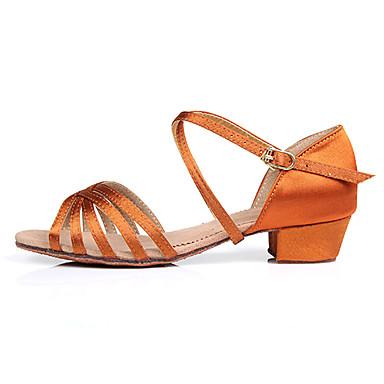 ieftine Ținute & Pantofi Dans-Pantofi Dans Latin / Sală Dans Satin Sandale Cataramă Toc Jos Personalizabili Pantofi de dans Camel / Negru / Maro / Pentru copii / Piele de Căprioară / Interior / EU39