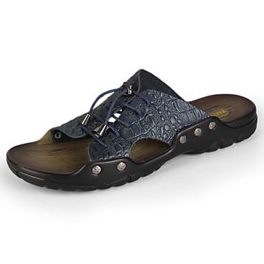 Муж. обувь Кожа Весна Лето Осень Удобная обувь Сандалии Черный Темно-синий Желтый Коричневый