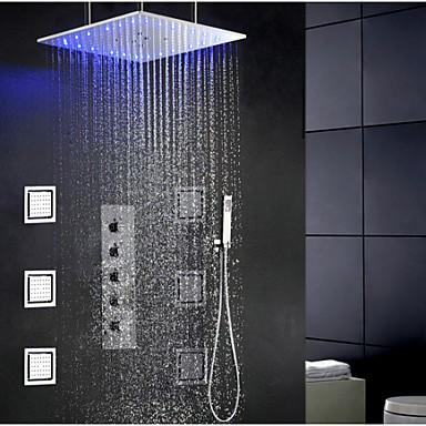 Çağdaş Modern Duş Sistemi Yağmur Duşları Yaygın El Duşu Dahil LED Seramik Vana Tek Kolu Dört Delik Krom, Duş Musluğu