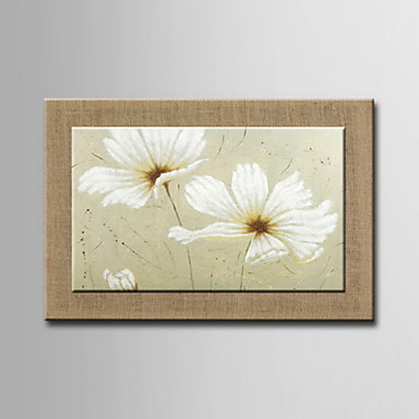 yağlıboya tablolar, bir pano, modern soyut çiçekler elle boyanmış asmak için doğal keten hazır