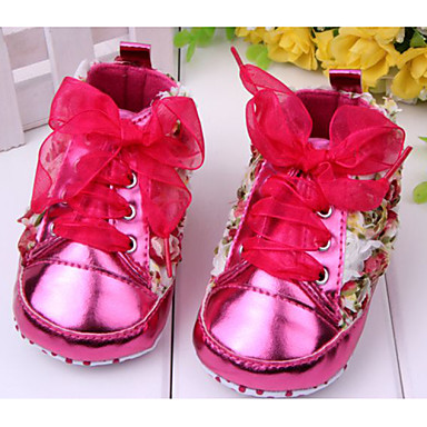 Genç Kız Bebek Ayakkabı Patentli Deri PU Bahar Sonbahar İlk Adım Rahat Düz Ayakkabılar Günlük Dış mekan Elbise için Fiyonk Çiçekli