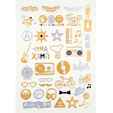 - Dövme Etiketleri - Temalı/Waterproof - Mücevher Serileri - Kadın/Erkek/Yetişkin/Genç - Altın Rengi/Çokrenkli/Gümüş - Kağıt - 4 -Adet